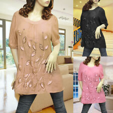 BLACK/PINK/BROWN SATIN LEAF BABY DOLL TUNIC TOP 1398 SIZE L/XL/XXL