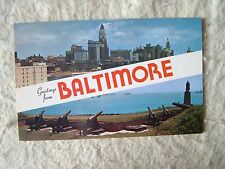 GREETINGS FROM BALTIMORE, MARYLAND - 1960'S POST CARD