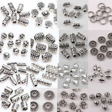 Lots 12/210pcs Silver Plated Loose Spacer Beads/Caps Charms Jewelry Findings