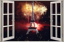 Huge 3D Window Fireworks Eiffel Tower View Wall Sticker Decal Mural 743