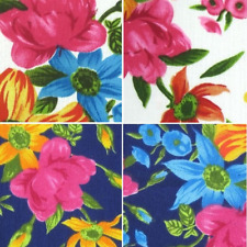Star Flower Bright Bold Colourful Floral Flowers Polycotton Fabric