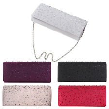 Elegant Satin Flap Crystal Clutch Evening Bag - Diff Colors Avail