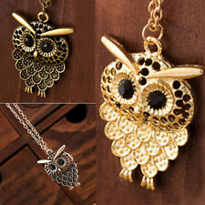 Women Retro Silver Gold Bronze Tone Cute Owl Pendant Long Chain Necklace Jewelry