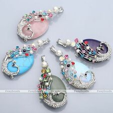 Fashion Crystal Peacock Wrap Oval Gemstone Quartz Pendant For Women Necklace DIY