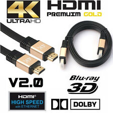 Premium HDMI Cable v2.0 Gold High Speed HDTV UltraHD HD 2160p 4K 3D Ethernet UK
