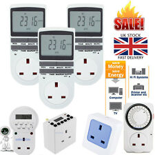 7 Day 12/24 Hour Programmable Digital Timer Socket Switch UK Plug In LCD Display