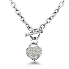 Stainless Steel Live Laugh Love Heart Tag Charm Necklace 18""