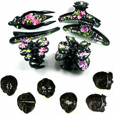 Gorgeous Hand Painted Flower Rhinestone Big Large Hair Claw Clip Clamp Pin Women