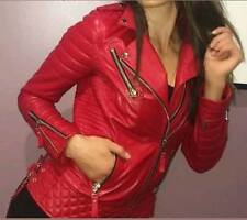 Womens Ladies Quilted Red Boda Lamb Skin Designer Fashion Leather Jacket