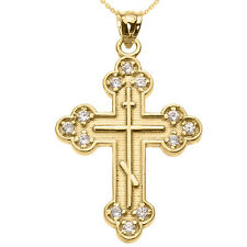 14k Yellow Gold Diamond Eastern Orthodox Cross Pendant Necklace
