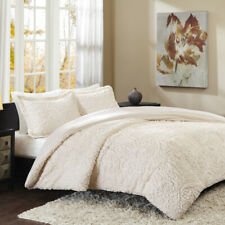 Soft Sheared Ivory Grey Faux Mink Fur Plush Comforter 3 pcs Set King Full Queen