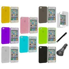 0.3mm Super Ultra Thin Hard Frost Cover Case+LCD+Charger+Pen for iPhone 4 4G 4S