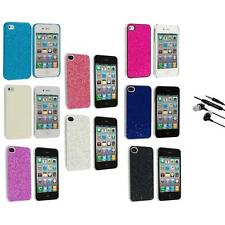 Bling Glitter Sparkly Ultra Thin Hard Back Cover+Earphone Mic for iPhone 4 4G