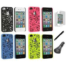 Lovely Carving Rose Flower Hard Case+LCD+Charger+Pen for iPhone 4 4G 4S