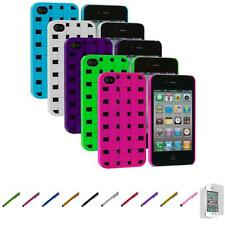 For iPhone 4 4S Color Basket Weave Hard Snap-On Case Cover+Screen Protector