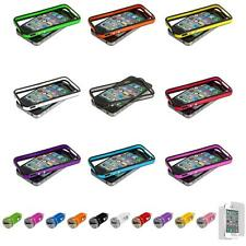 For iPhone 4 4S TPU Bumper Frame Case Cover Metal Buttons+Car Charger+LCD