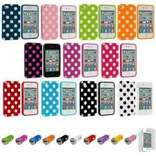 For iPhone 4 4S Polka Dot TPU Color Rubber Skin Case Cover+Car Charger+LCD