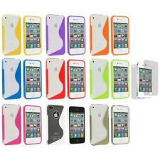 TPU Clear S-Shape S-Line Rubber Case+Screen Protector for iPhone 4S 4G 4