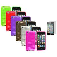 TPU Diamond Rubber Case Cover+Screen Protector for iPod Touch 4th Gen 4G 4
