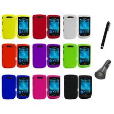 Color Hard Rubberized Cover Case+Charger+Pen for Blackberry Torch 9800 9810