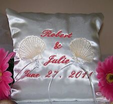 White Wedding Ring Bearer Pillow Tropical Theme Shells Design Personalized Gift