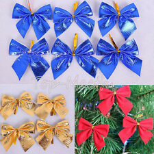 12X Christmas Tree Bow Decoration Baubles Merry XMAS Party Garden Bows Ornament