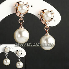 Rhinestone Pearl Drop Dangle Earrings 18KGP Crystal
