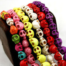 WHOLESALE TURQUOISE GEMSTONE HOWLITE CARVED SKULL HEAD LOOSE BEADS 9X7.5MM