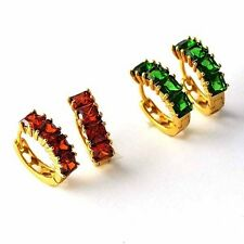 Gorgeous jewelry Yellow Gold Plated Womens Red/green CZ cute Hoop Earrings
