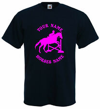 HORSE RIDING FUNNY T-SHIRT - DRESSAGE JUMPING TSHIRT PERSONALISED SIZE S-XXL