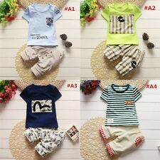 2PCs Toddler Baby Boys Summer Striped Outfits Set T-Shirt Top Short Pants New