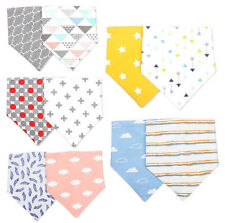 2pcs Baby Kid Cotton Bandana Bibs Dribble Triangle Lunch Head Scarf Saliva Towel