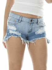 New Womens Ripped Studded Washed Out Diamante Denim Hot Pants Shorts M 6 8 10 14