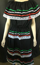 WOMANS BLACK PEASANT MEXICAN LACE DRESS CINCO DE MAYO  ASSORTED AND PLUS SIZES