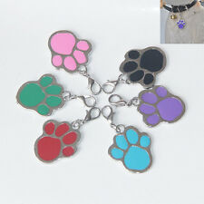 1x Personalised Stainless Steel Paw Print Dog Cat Pet Puppy ID Charm Tag Keyring