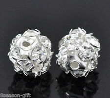 Gift Wholesale Silver Plated Filigree Rhinestone Balls 8mm