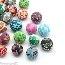 "Gift Wholesale Polymer Clay Beads Round Flower Mixed 14mm( 4/8"") - 15mm( 5/8"")"