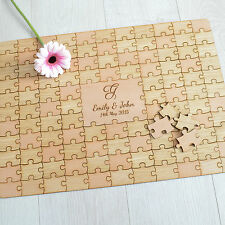 Personalised Wooden Wedding Jigsaw Puzzle Piece Guestbook Guest Book Alternative