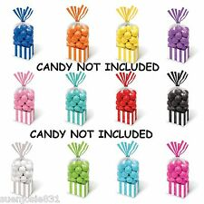 Striped Square Cello Treat Goodie Bags 10pcs Party Favors Supplies