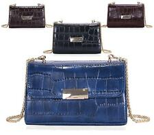 LADIES FOLDOVER HANDBAG FAUX PATENT CROC LEATHER EVENING PARTY CLUTCH BAG
