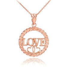 Rose Gold LOVE Hearts in Circle Rope Pendant Necklace