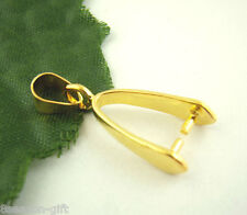 Gift Wholesale Gold Plated Pinch Clip Bail Beads Findings 8x23mm