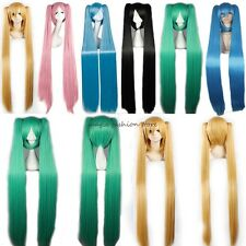 Anime Long Vocaloid hatsune Miku Full Wig Cosplay Costume Halloween Thick Pink G