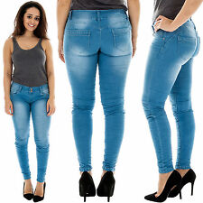 New Womens Sexy Classic High Waisted Stretch Skinny Crinkle Denim Pants Jeans UK