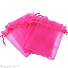 Gift Wholesale 9x12cm Fuchsia Organza Jewelry Gift Pouch Bags Wedding X-mas