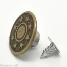 "Gift Wholesale Bronze Tone Pattern Jeans Tack Buttons 17x8mm(5/8""x3/8"")"