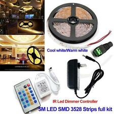 5M 3528 Warm White Dimmer LED Strip Light 12V 300leds Tape+IR Controller+Power