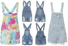 Womens Ladies Denim Ripped Multi Coloured Button Dungarees Sizes 6-14