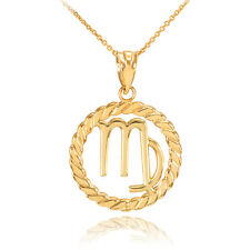 14k Gold Virgo Zodiac Sign in Circle Rope Pendant Necklace