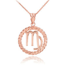 14k Rose Gold Virgo Zodiac Sign in Circle Rope Pendant Necklace